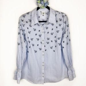 Cabi Whitney Striped Floral Career Blouse M